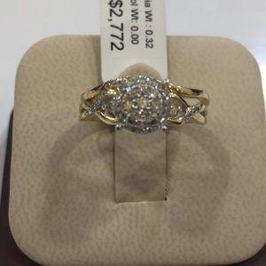 14 K Y Engagement diamond ring set